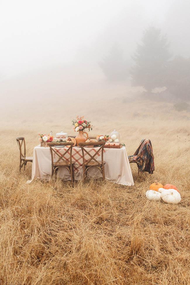 Cómo decorar una mesa otoñal en el campo