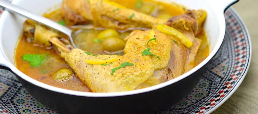 Tajine de poulet aux olives et au citron confit (sans tajine)