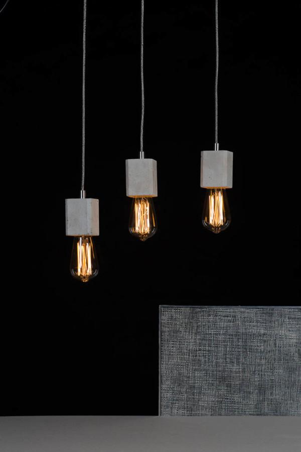 Betonowe lampy Kalla Quadro - kolor naturalny