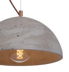 Lampa betonowa Sfera - kolor naturalny - wykończenie miedziane