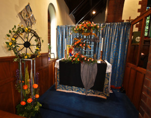 Floral displays in the Lady Chapel.