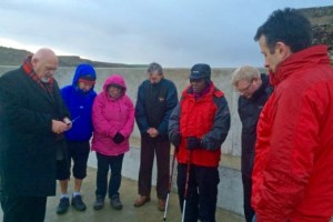 The Archbishop of York leads prayers of blessing on the newly refurbished Skinningrove Jetty