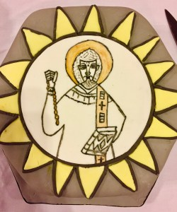 The Saint Leonard's Day Cake with an image of St Leonard!