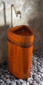 Log Home Pedestal Sink Shaped Like A Log   The Log Home Guide Wood Pedestal Sink