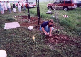 Nila Jean Tanner planting a tree at the cemetery entrance
