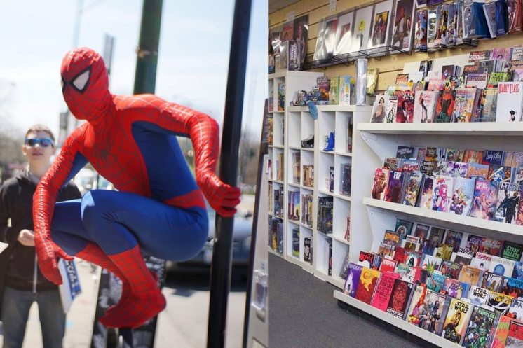 From noon to 4 pm, Spider-Man will hand out free comics to kids at G-mart Comics. And all day, take advantage of 10% to 50% off statues, toys, games and T-shirts.