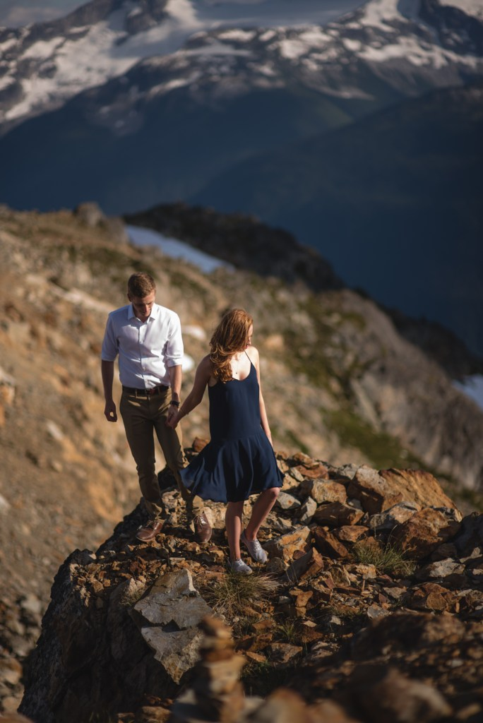 A couple walking together in the mountains