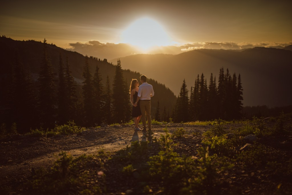 sunset engagement couple on whistler mountain