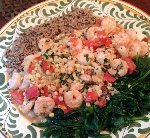 Summer Shrimp with Fresh Corn, Tomatoes, and Basil
