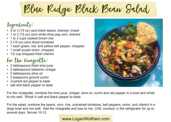 Black Bean Salad 5x7 Recipe Card