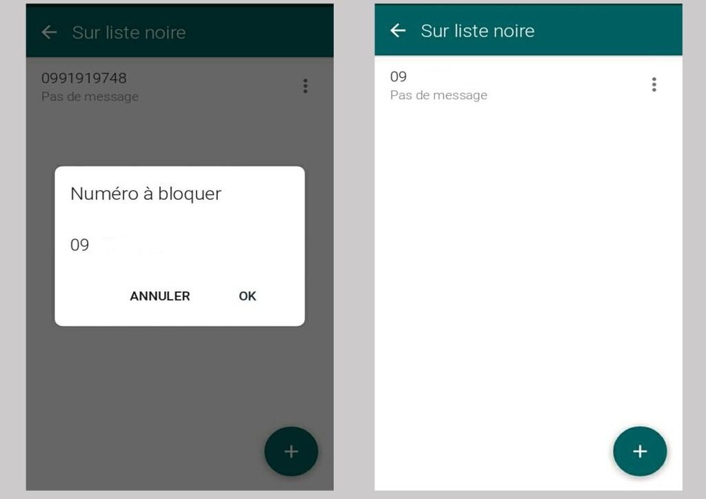 ajouter un contact à la liste noire Textra SMS