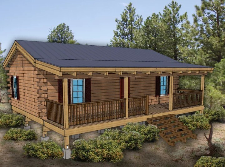 3 bedroom hunting cabin plans for Three bedroom log cabin kits