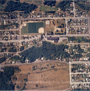 Aerial photo of the Delridge area, showing Cooper School, playfields, and surrounding housing. Circa 1975.