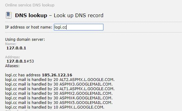 Ответ сайта 2whois.ru на запрос об A записи домена Logi.cc