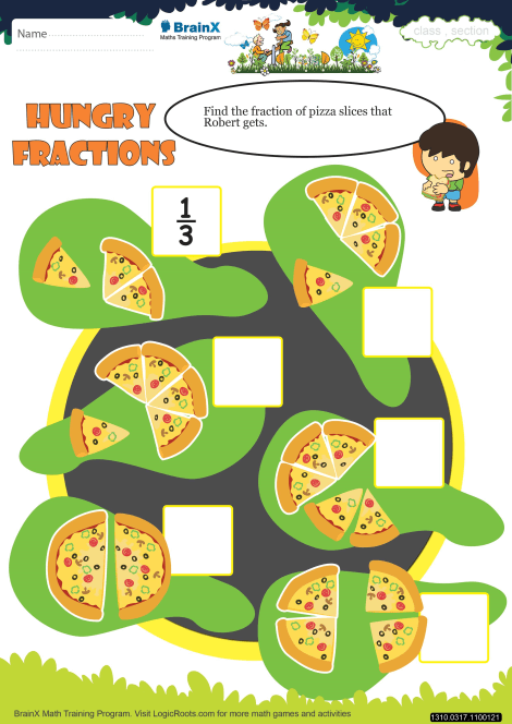 Hungry Fractions Math Worksheet For Grade 3