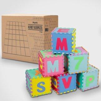 LifeGoods ABC Speelmat XL 36-delig Alfabet Puzzel van Schuim Vloer Tegels met Letters en Cijfers  180×180 cm