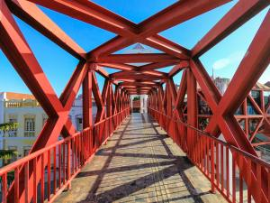 Red Angular Pedestrian Bridge