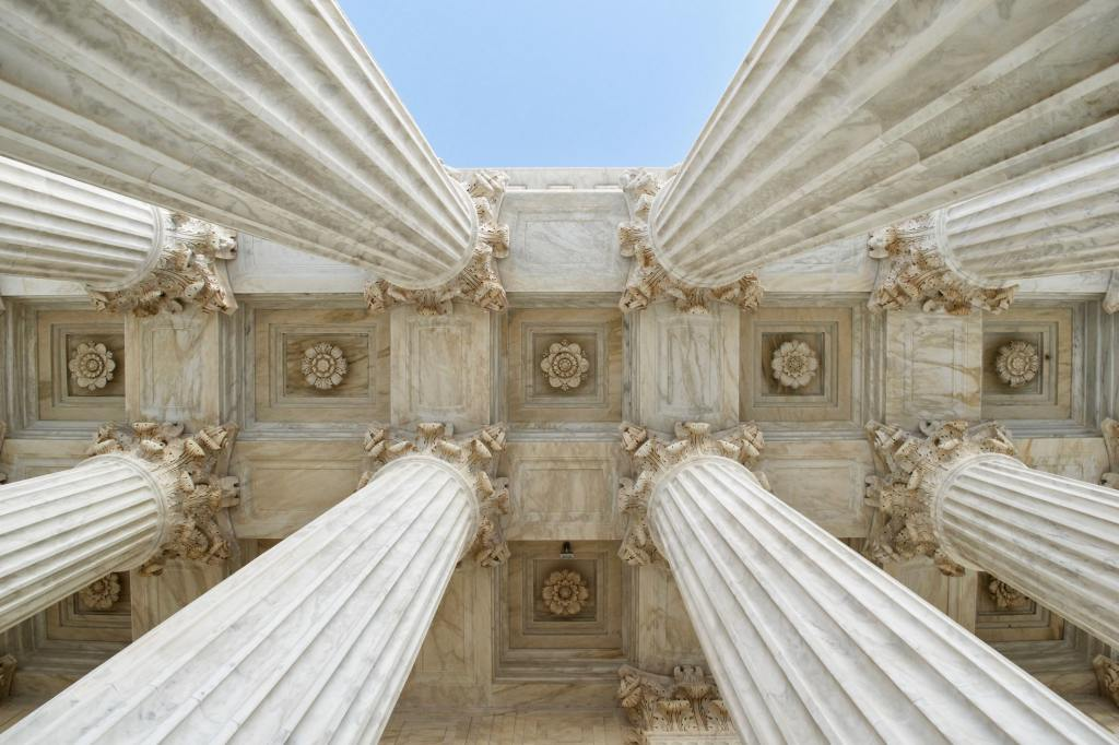 Upward View of Pillars of the Supreme Court of the United States