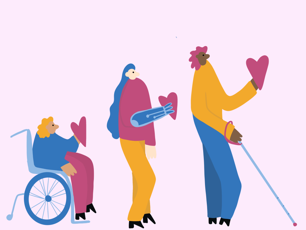 illustration of a person in a wheelchair, a person with a prosthetic, and a person with a cane