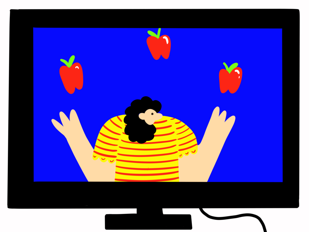 Illustration of a teacher jugging apples on a computer screen