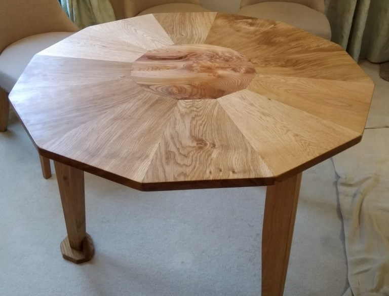 oak and elm dodecadgon table by Dave Philp