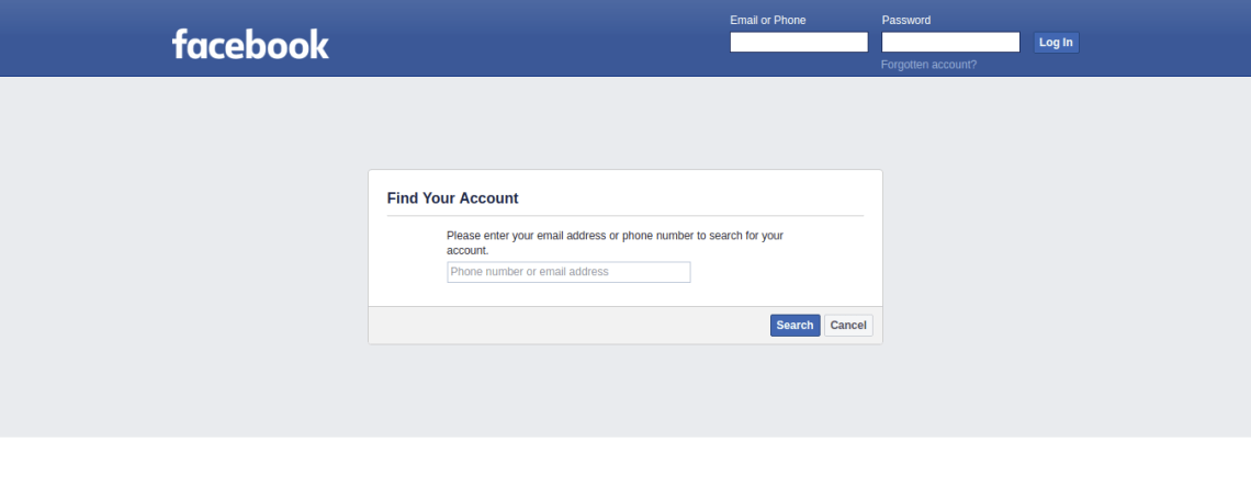 Forgotten Password Can t Log In Facebook
