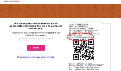 Dunkin Donuts Guest Experience Survey