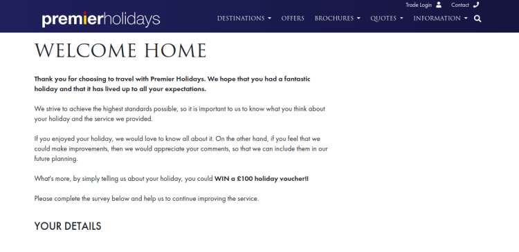 Premier Holidays Survey