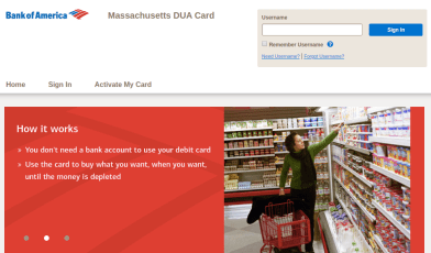 Massachusetts DUA Card Login