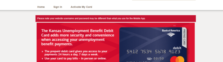 kansas unemployment debit card