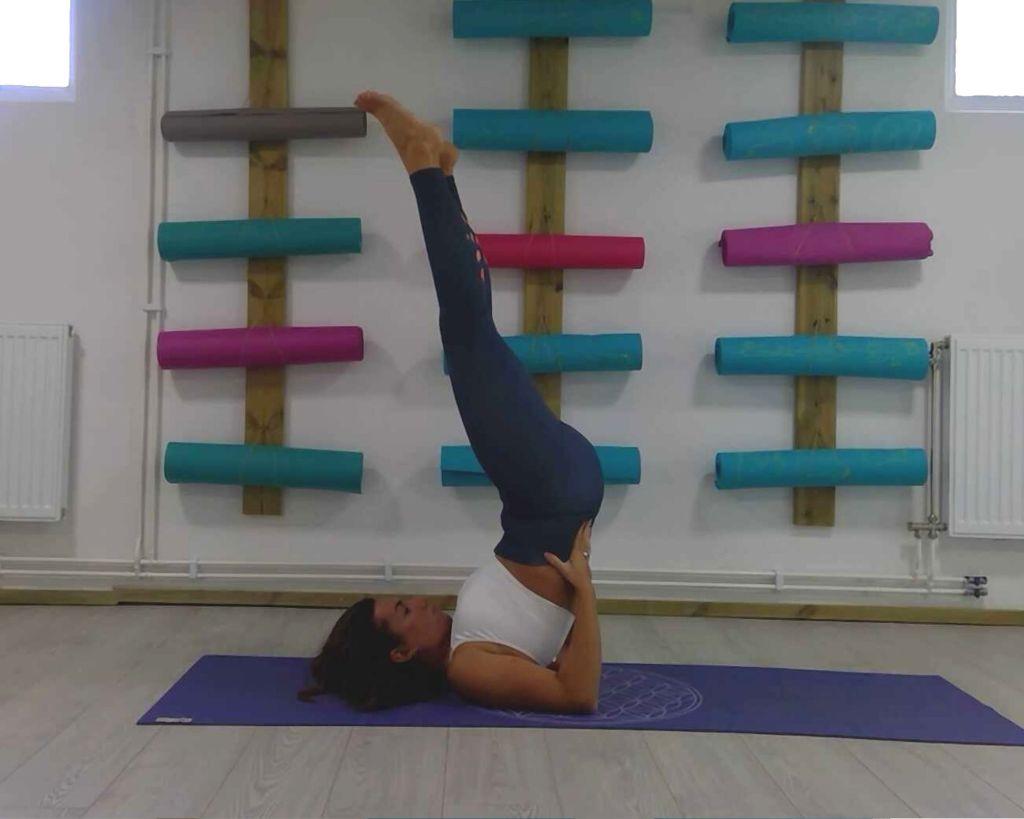 Shoulder Stand, poses for throat chakra, vishuddha yoga