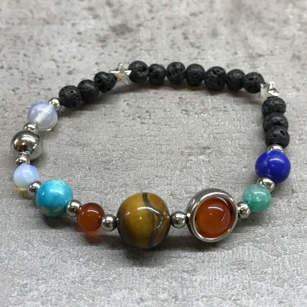 Chakra Lava Stone Bracelet solar system