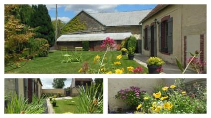 Logis de Villegruis : agréable jardin côté village entièrement clos et arboré, fleurs et salon de jardin, sécurisé.
