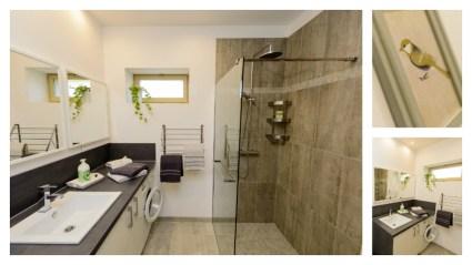 Salle d'eau du Logis de Villegruis, fonctionnelle et ergonomique. Accessibilité et bien être : douche à l'italienne, lave linge, sèche serviettes