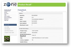 Sample of GS1 Canada Product Recall Notification (Source: GS1 Canada)