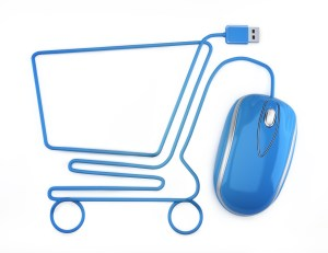 Online shopping, blue mouse in the shape of a shopping cart