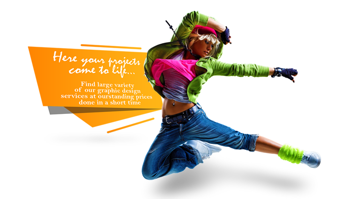 break dance girl in colored clothes