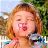 Girl Blowing Bubbles Prints Cards, Trays, Buttons, Stickers, Magnets, and more!