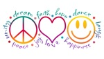 Peace Love Laugh tshirts, tees, Prints Cards, Trays, Buttons, Stickers, Magnets, and more!
