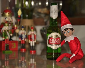 Elf on the Shelf drinking beer