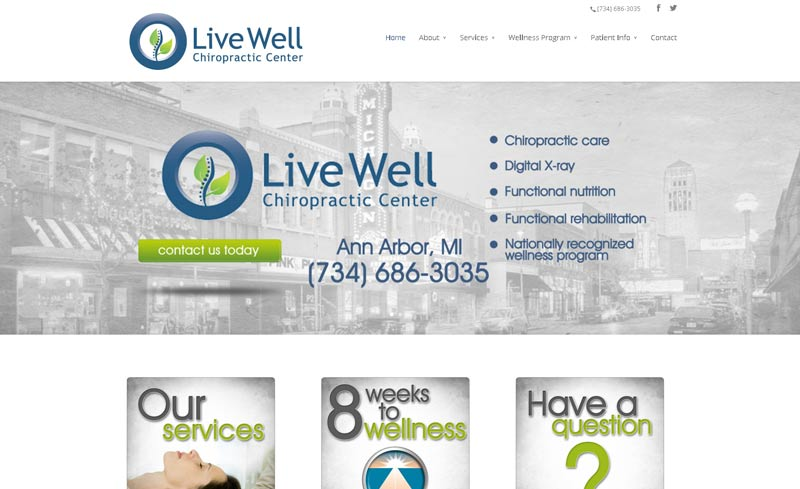 live well chiropractic website design