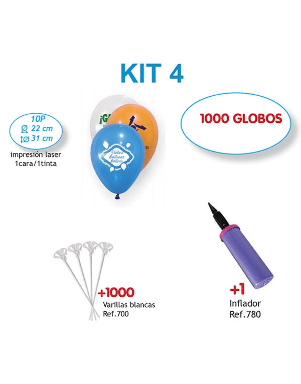 1.000 Globos personalizados impresos a 1 cara a 1 color + Inflador + 1.000 Varillas blancas (Kit 4)
