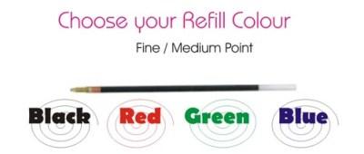 Pen refill ink colours
