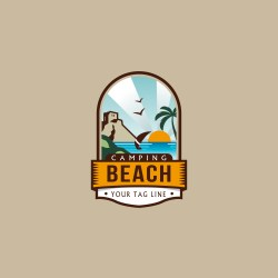 Download now, free beach or travel logo template, with cool concept.