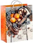 Купить оптом полиэтиленовый новогодний пакет Мандариновое настроение 30х40см 140мкм из мягкого пластика