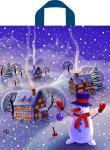 Купить оптом новогодний полиэтиленовый пакет Вечерняя деревенька 42х38 37мкм с петлевой ручкой ПНД