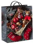 Купить оптом полиэтиленовый новогодний пакет Мишка с гостинцами 30х40см 140мкм из мягкого пластика