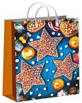 Купить оптом полиэтиленовый пакет Пряничные звезды 30x40 150 мкм из мягкого пластика