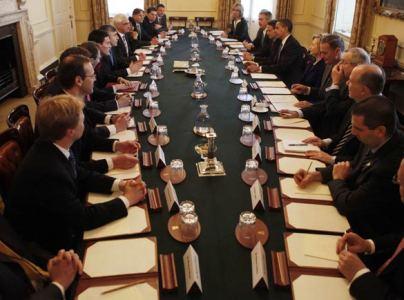 Leaders of G20 Countries Meet in Britain's Cabinet Room