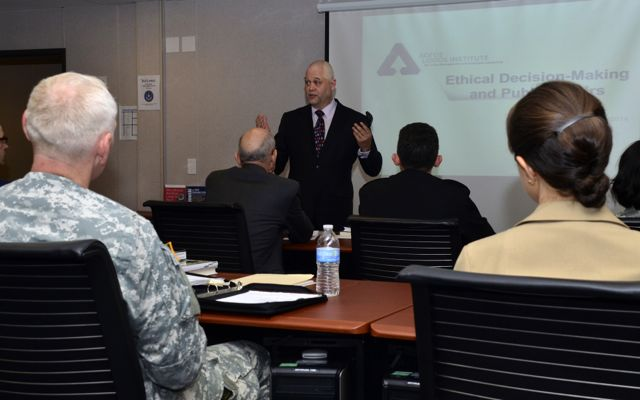 Helio Fred Garcia teaching Ethical Decision-making for Public Affairs Officers at DINFOS, April 28, 2014